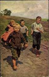 Künstler Ak Genzmer, B., Dorfjugend, Kinder beim Spielen auf dem Feld