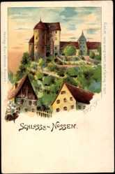 Künstler Litho Oehmichen, F., Nossen Kreis Meißen, Teilansicht des Schlosses