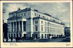 Postcard Riga Lettland, Ansicht vom Opernhaus, Straßenpartie