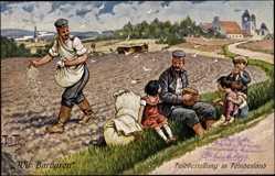 Künstler Ak Thiele, Arthur, Feldbestellung in Feindesland, Soldaten