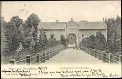 Postcard Ahrensburg, Blick auf die Schlossbrücke mit Thorhaus
