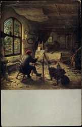 Künstler Ak V. Ostade, A., Der Künstler in seiner Werkstatt