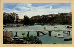 Ansichtskarte / Postkarte Sydney New South Wales Australien, Mosmans Bay, Brücke, Bootsanlegestelle