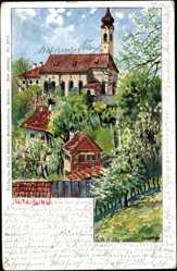Künstler Ak Ochleitner, Bad Aibling in Oberbayern, Ansicht der Stadtpfarrkirche