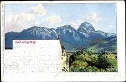 Künstler Ak Ochleitner, Bad Aibling, Blick zu den Bergen, Panorama