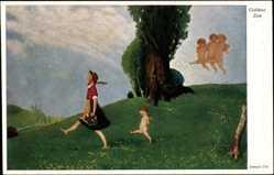 Künstler Ak Uhl, Joseph, Goldene Zeit, Mädchen, Engel