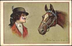 Künstler Ak Colombo, E., Reiterin, Pferdekopf, Reitermontur
