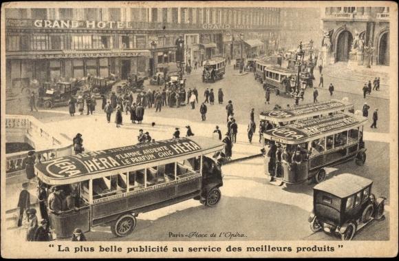 Carte postale Paris, Place de l'Opéra, La Plus belle publicité, service meuilleurs produits