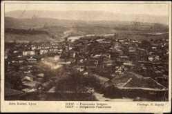 Postcard Istip Mazedonien, Panoramablick auf den Ort mit Landschaft