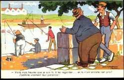 Künstler Ak Chaperon, Jean, Angler am Fluss, Männer unterhalten sich