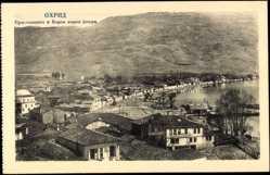 Postcard Ohrid Mazedonien, Vogelschau auf Wohnsiedlung am See