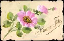 Handgemalt Ak Bonne Fête, Blume mit rosa Blüten