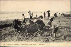Ak Mers les Bains Somme, Construction sur le Sable
