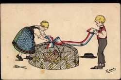 Künstler Ak Zane, Kinder binden Schleife um Käfig, Hühner, Küken, frz. Farben