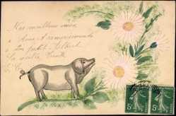 Handgemalt Ak Nos meilleurs Voeux, Cochon, Schwein, Blumen, Frankreich
