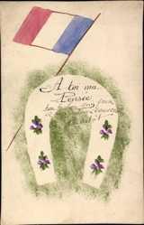 Handgemalt Ak Hufeisen, A toi ma Pensée, französische Flagge