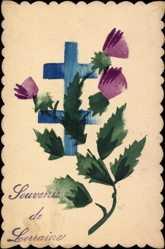 Handgemalt Ak Souvenir de Lorraine, Lothringen, Kreuze, Kitsch