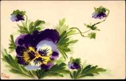 Handgemalt Ak Sully, E., Violette Blüten, Blumen, Kitsch