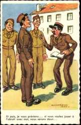Künstler Ak Chaperon, Jean, Französische Soldaten, Belehrung