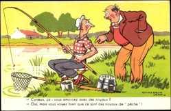 Künstler Ak Chaperon, Jean, Zwei Männer beim Angeln
