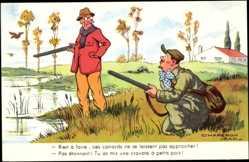 Künstler Ak Chaperon, Jean, Zwei Männer bei der Jagd, Stockenten