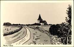 Künstler Ak Peude a. Ösel Estland, Blick auf die Kirche