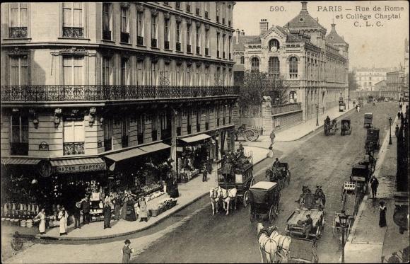 Carte postale Paris, Rue de Rome et Collège Chaptal, C.L.C, Straßenansicht, Bazar