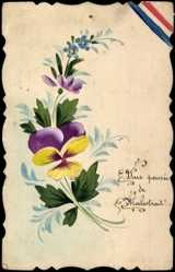 Handgemalt Ak Une pensée, des fleurs, Blumen, Kitsch