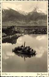Foto Ak Bled Veldes Slowenien, Gesamtansicht des Ortes