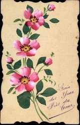 Handgemalt Ak Blumenstrauß, Kitsch, Frankreich, Rote Blüten