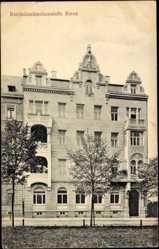 Postcard Riesa Kreis Meißen, Blick auf die Reichsbanknebenstelle, Giebel