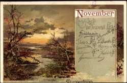 Künstler Litho Tuggenbrecher, Allegorie, November, Fluss