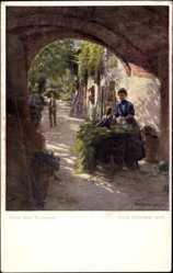 Künstler Ak Götzinger, Hans, Unter dem Torbogen, Mutter, Heukarren, BKWI 1110