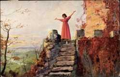 Künstler Ak In Erwartung, Dans l'attende, Frau mit offenen Armen
