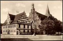 Ak Sommerfeld Ostbrandenburg, Markt, Rathaus und Stadtpfarrkirche