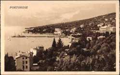 Postcard Portorose Slowenien, Gesamtansicht des Ortes, Panorama