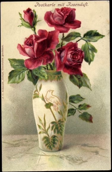 litho vase mit roten rosen gr ne bl tter verzierte vase. Black Bedroom Furniture Sets. Home Design Ideas