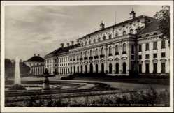 Postcard Schleißheim, Blick auf das Schloss, Springbrunnen, Wasserkunst, Park