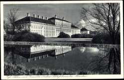 Postcard Schleißheim, Blick auf das Königliche Schloss vom Wasser aus