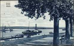 Postcard Zemun Belgrad Serbien, Blick auf den Fluss, Dampfer