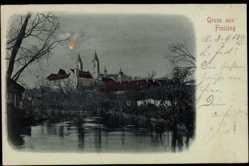 Mondschein Ak Freising, Winterliche Stadtansicht bei Nacht