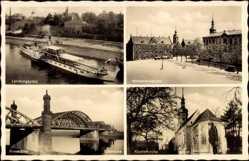 Postcard Riesa Kreis Meißen, Landungsplatz, Hindenburgplatz, Klosterkirche