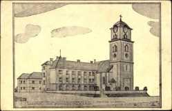 Künstler Ak Poprad Slowakei, Blick auf Redemptoristenkloster, Kirche