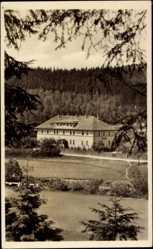 Postcard Beskydy Horni Becva Slowakei, Blick über einen Fluss auf ein Hotel, Wald