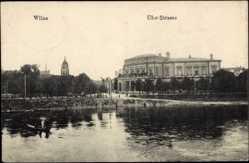 Postcard Vilnius Wilna Litauen, Partie an der Uferstraße
