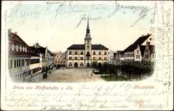 Postcard Pfaffenhofen Ilm, Blick auf den Hauptplatz und das Rathaus, Passanten