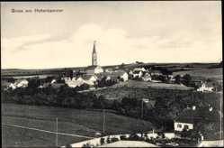 Postcard Hohenkammer, Blick auf die Ortschaft, Kirche, Felder, Straße, Häuser