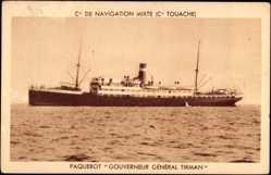 Postcard Compagnie de Navigation Mixte, Cie Touache,Paquebot Gouverneur Général Tirman
