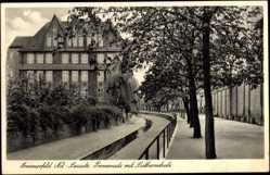 Ak Lubsko Sommerfeld Ostbrandenburg, Promenade mit Lutherschule