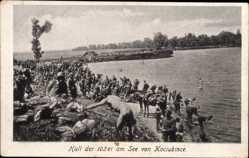 Postcard Halt der 102er am See von Kociubince, Ostgalizien, Ukraine